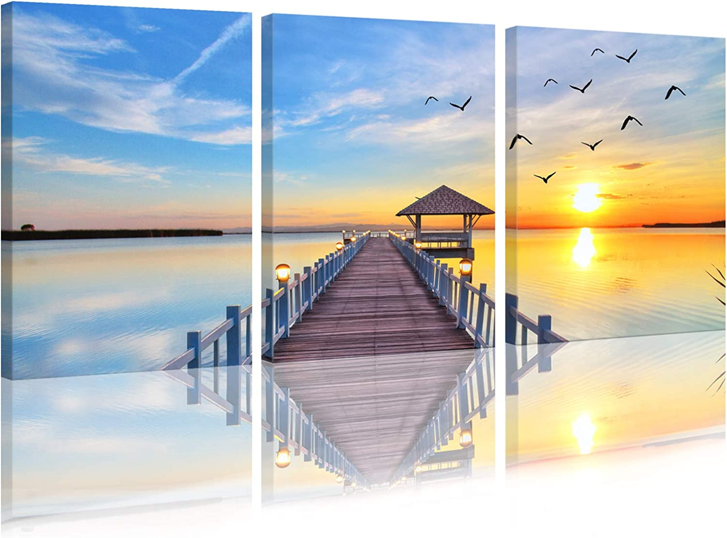 3 Piece Wall Art Canvas Wall Art,Sunset Landscape Prints Picture,Blue Sky Seascape Wharf Artwork Painting,Framed Modern Giclee Wall Decor for Living Room 16