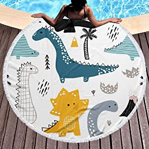 chenguang4422 Cartoon Dinosaur Kids Printed Round Beach Towel Yoga Picnic Mat Round Tablecloth Ultra Soft Super Water Absorbent Terry Towel with Tassels