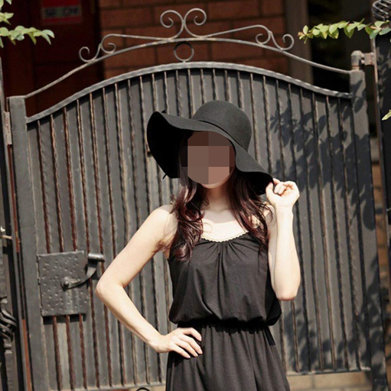 Felt Sun Hat Women Vintage Wide Brim Sunbonnet Lady Beach Sunhat UV Protection Caps,6,U