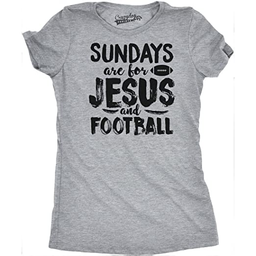Womens Sundays Jesus and Football Funny Sports Athlete Religion T Shirt  (Grey) S 5b7e32282e