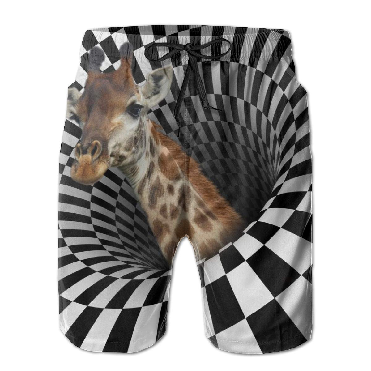 Giraffe On Optical Illusions Men Beach Trunks Funny Print Colorful Soft Swim Shorts Mesh Liner with Pocket