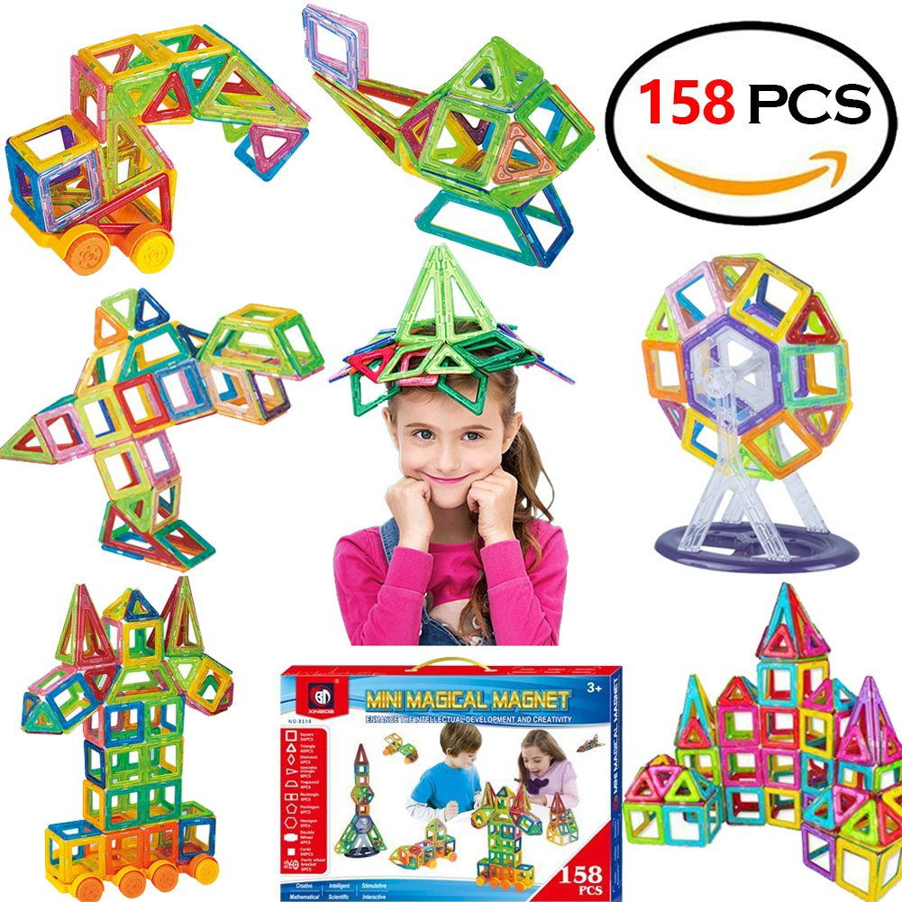 your child can build hundreds of model with 158 colorful pieces.