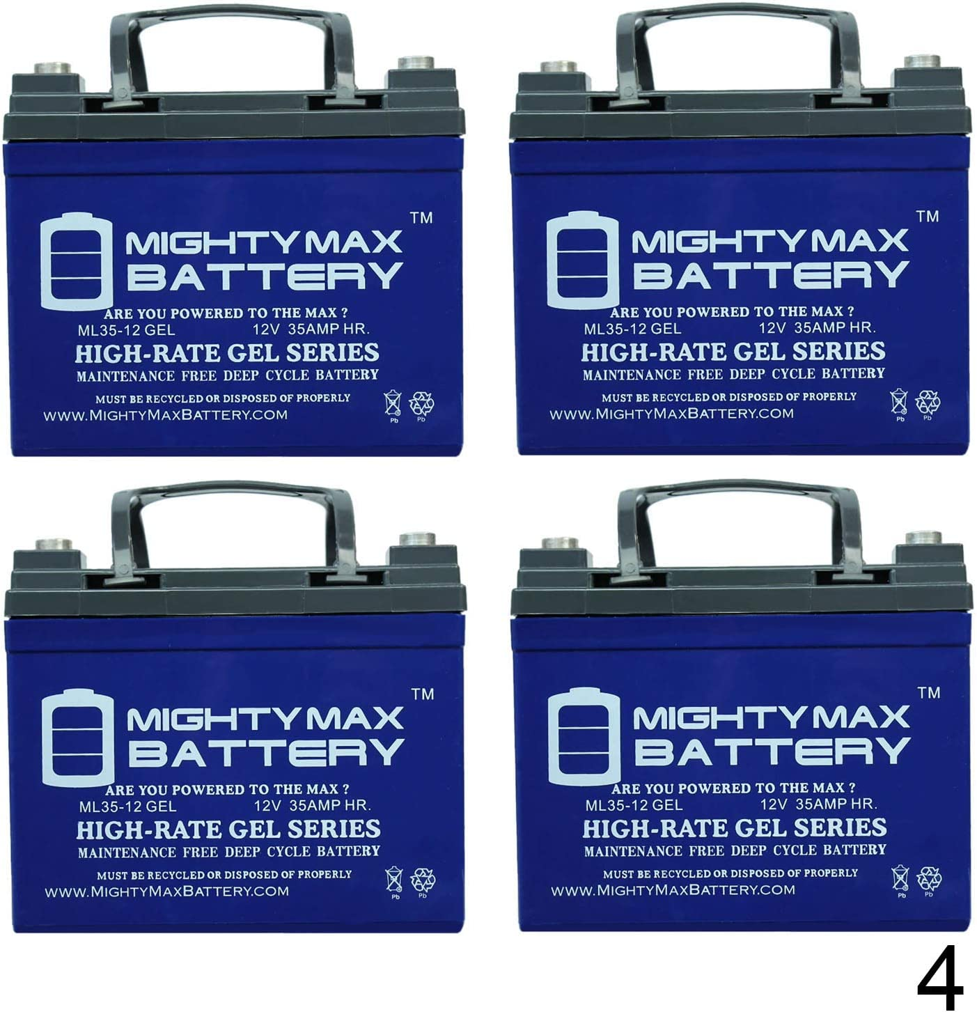 4 Pack Brand Product Mighty Max Battery 12V 35AH Gel Replacement Battery for Tripp Lite BP24V33 TLRBC48 UPS