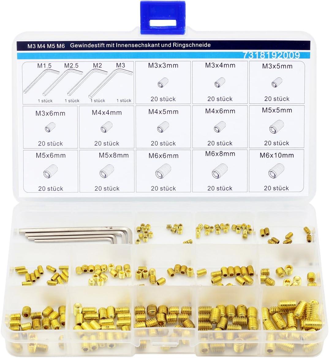 50Pcs M3 M4 M5 Grub Screws Cone Point Hexagon Hex Socket Set Screws  DD