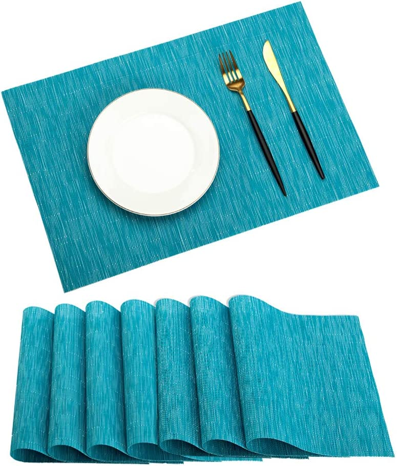 PABUSIOR Placemat Washable, Dining Table Placemats Set of 8 Easy to Clean Crossweave Woven Vinyl Heat Resistant Non-Slip Kitchen Table Mats(8/Pack Placemats, Sky Blue)