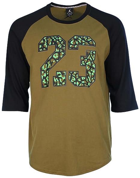 0f859d1d6c0c Amazon.com  Jordan Men s Nike 23 Raglan 3 4 Shirt-Olive-XL  Sports ...