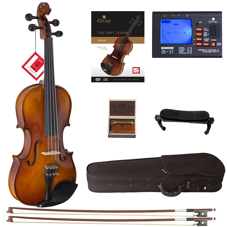 Cecilio CVN-320L Solidwood Ebony Fitted Left-Handed Violin with D'Addario Prelude Strings, Size 4/4 (Full Size) Cecilio Musical Instruments DA_4/4CVN-320L+SR+92D+FB1