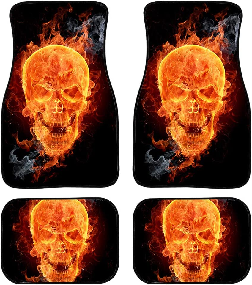 Babrukda Cool Fire Flame Skull Print Heavy Duty Floor Mats for Car Sedan Coupe SUV Truck and Van Rubber Backing 4 Piece Set All Weather Protection