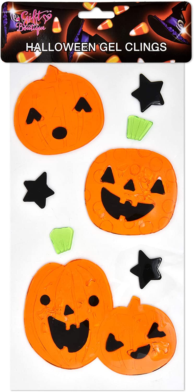 CGSignLab 16x16 Halloween Decor Pumpkins and Ghosts Window Cling 5-Pack