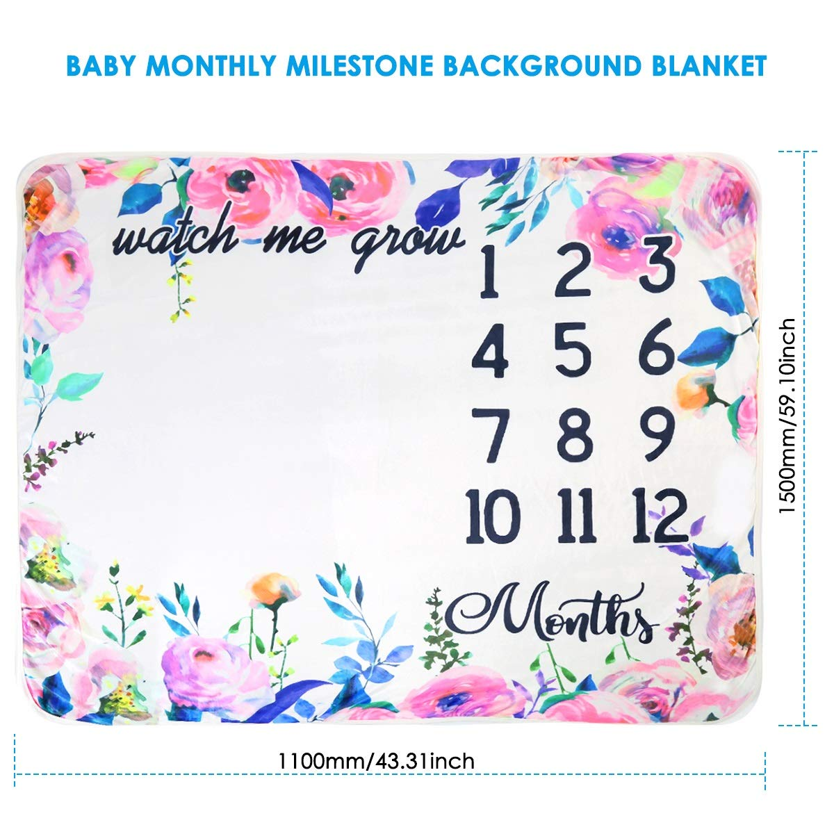 Baby Monthly Milestone Blanket Extra Large Photography Background Blanket Thick Velvet Backdrop Prop Swaddle for Single /& Twins Color : Garland