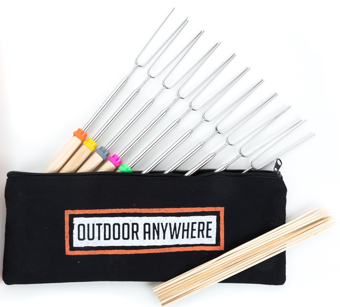 Marshmallow Roasting Sticks: Smores Skewers & Telescoping and Rotating Hotdog Fork Gift Set - 32 Inch - Camping Cookware Accessories for Kids - 10 Stainless Steel Forks - 10 Bamboo Sticks OUTDOOR ANYWHERE