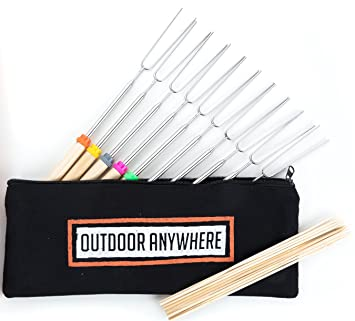 Campfire Accessories Marshmallow Roasting Sticks Smores Skewers Telescoping Fork Gift Set