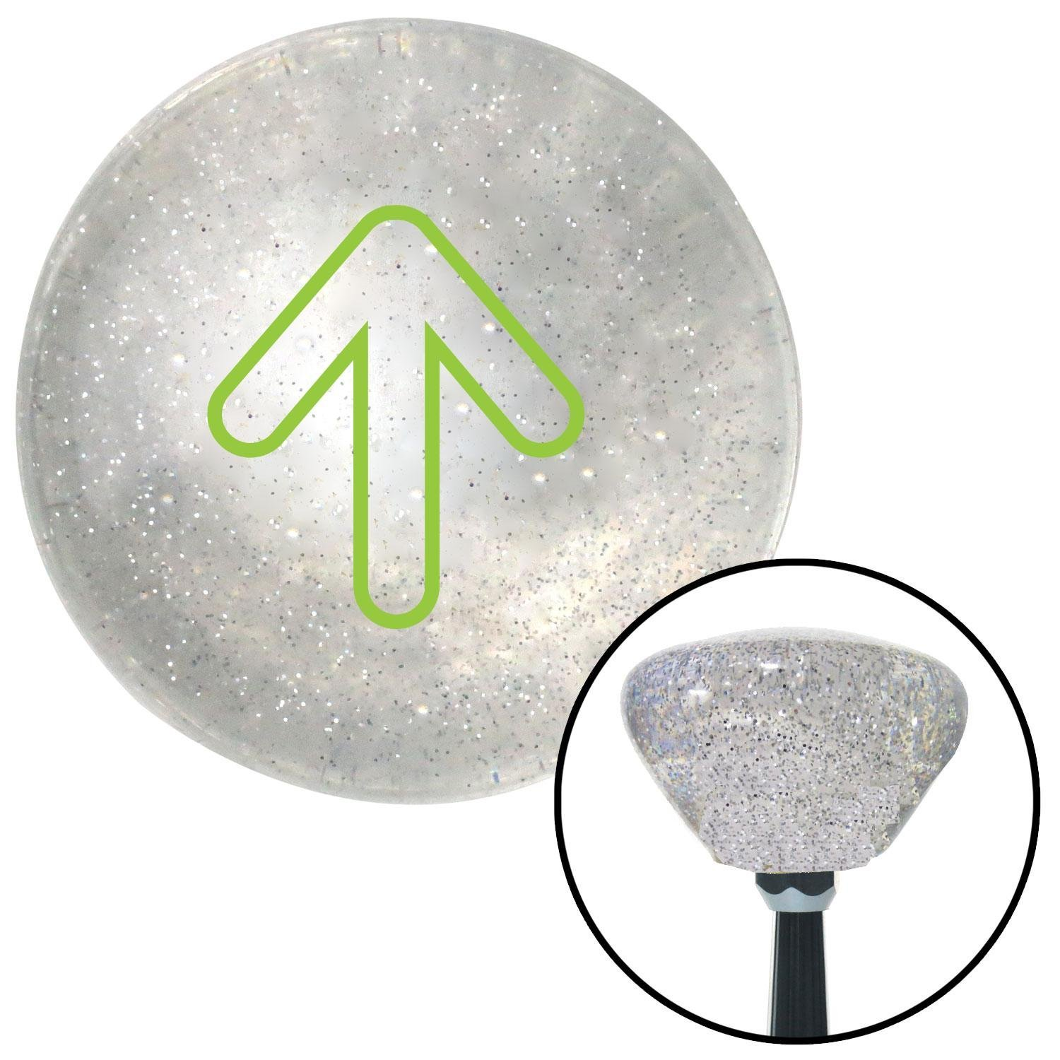 Green Bubble Directional Arrow Up American Shifter 160101 Clear Retro Metal Flake Shift Knob with M16 x 1.5 Insert