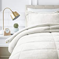 AmazonBasics Ultra-Soft Micromink Sherpa Comforter Twin Bed Set