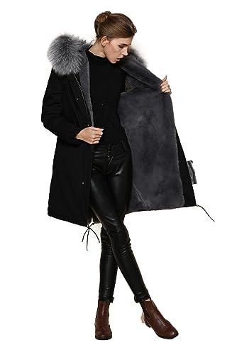 Parka XXL cuello de auténtica piel 100% pelo auténtico chaqueta abrigo negro 6colores