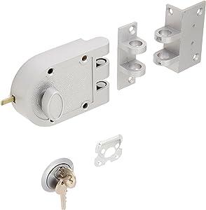 Guard Security Heavy Duty Jimmy Proof Deadbolt Door Lock, Silver, Single Cylinder with Key Entry #44861