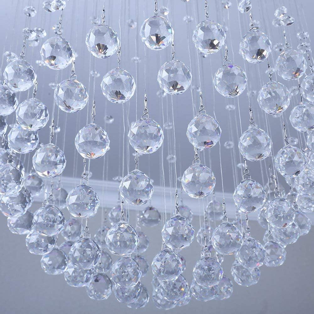 Crystal Raindrop Chandelier Pendant Lamp Ball Shape Ceiling Light Crystal Chandelier Flush Mount LED Light Fixture Required 6 GU10 Lights for Living Room Dining Room