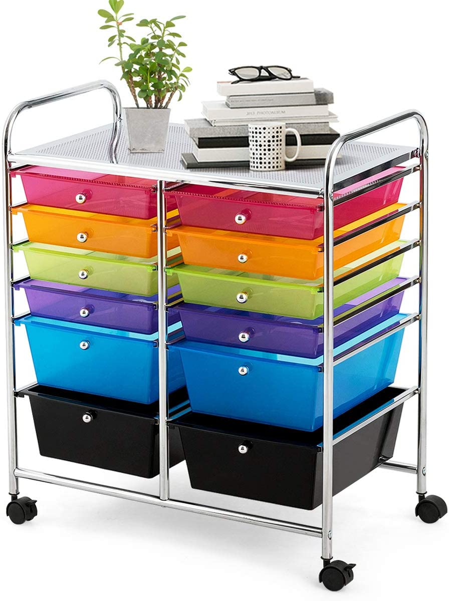 Giantex 12 Drawer Rolling Storage Cart Tools Scrapbook Paper Office School Organizer (Multi-Color)