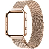 For Fitbit Blaze Accessory BandSmall (5.5-6.7 in)Oitom Frame Housing+Milanese loop Stailess Steel Band for Fitbit Blaze Smart Fitness Rose Gold