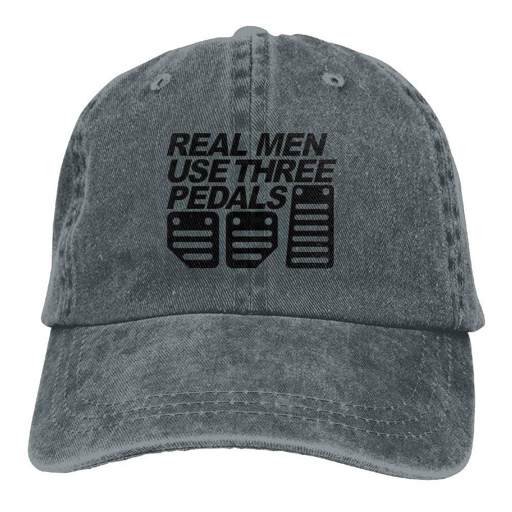 Real Men Use Three Pedals Plain Adjustable Cowboy Cap Denim Hat for Women and Men