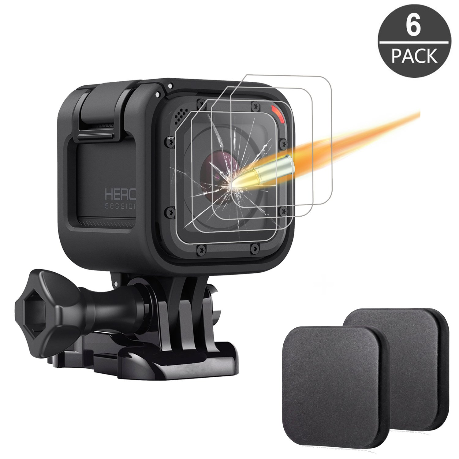 [6 Pack] Tempered-Glass Screen Protector for GoPro Hero 5 Black Hero 6 Black (2-Pack) & Lens protector (2-Pack) & Lens Cap Cover (2-Pack) By Akwox 4331965079