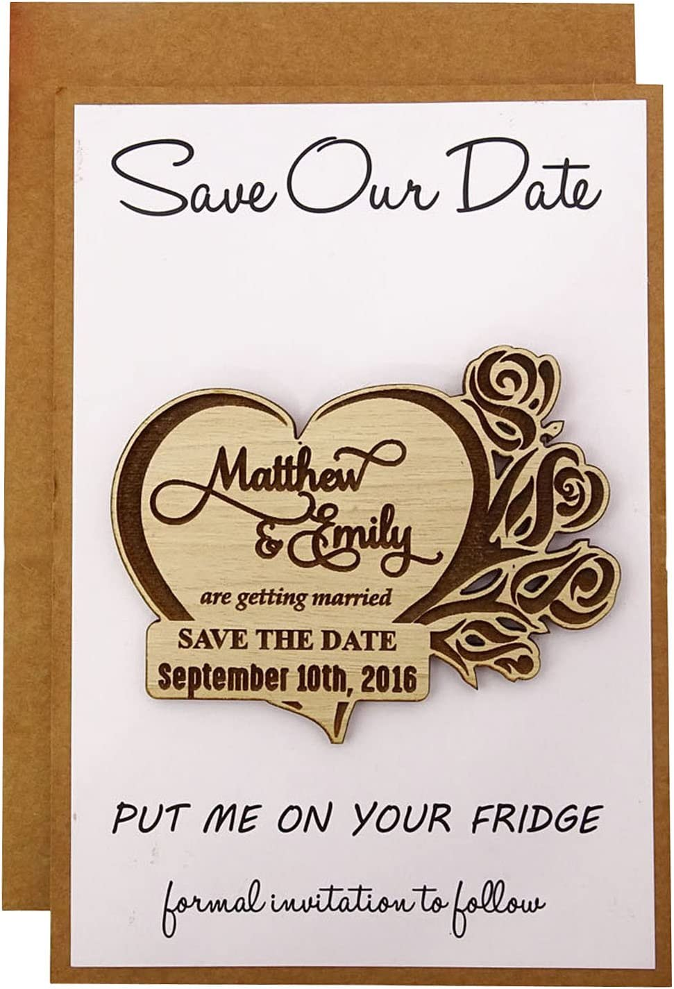 Custom Engraved Wooden Magnet Personalized Gift 40 Rustic Wedding Save the Date Wooden Magnet