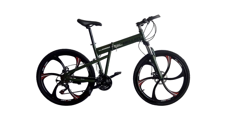 Bicicleta de montaña,mountainbike, plegable, VTT Shimano,supensión. MTB Llantas aleación magnesio. (Verde Militar): Amazon.es: Deportes y aire libre