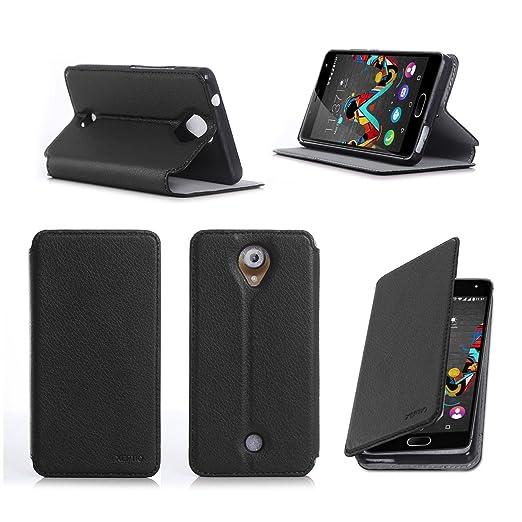 4 opinioni per Nera Custodia Pelle Ultra Slim per Wiko Ufeel 4G smartphone- Flip Case Funda