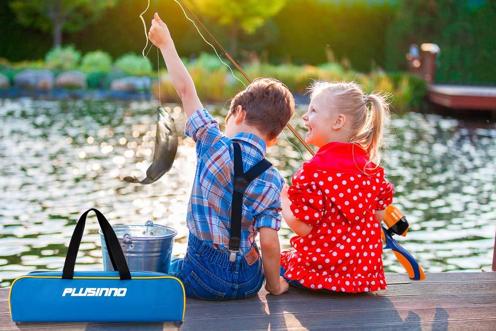 Kids Fishing Pole W Spincast Reel Telescopic Rod Combo Full Kits For Boys Girls