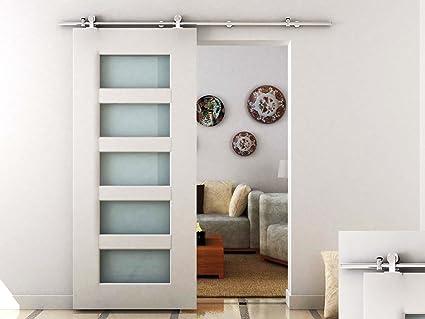 DIYHD Acero Inoxidable Armario De Puerta Corredera de madera Granero hardware puerta de montaje superior, acero, cepillado, 2.44m top mount kit: Amazon.es: Hogar