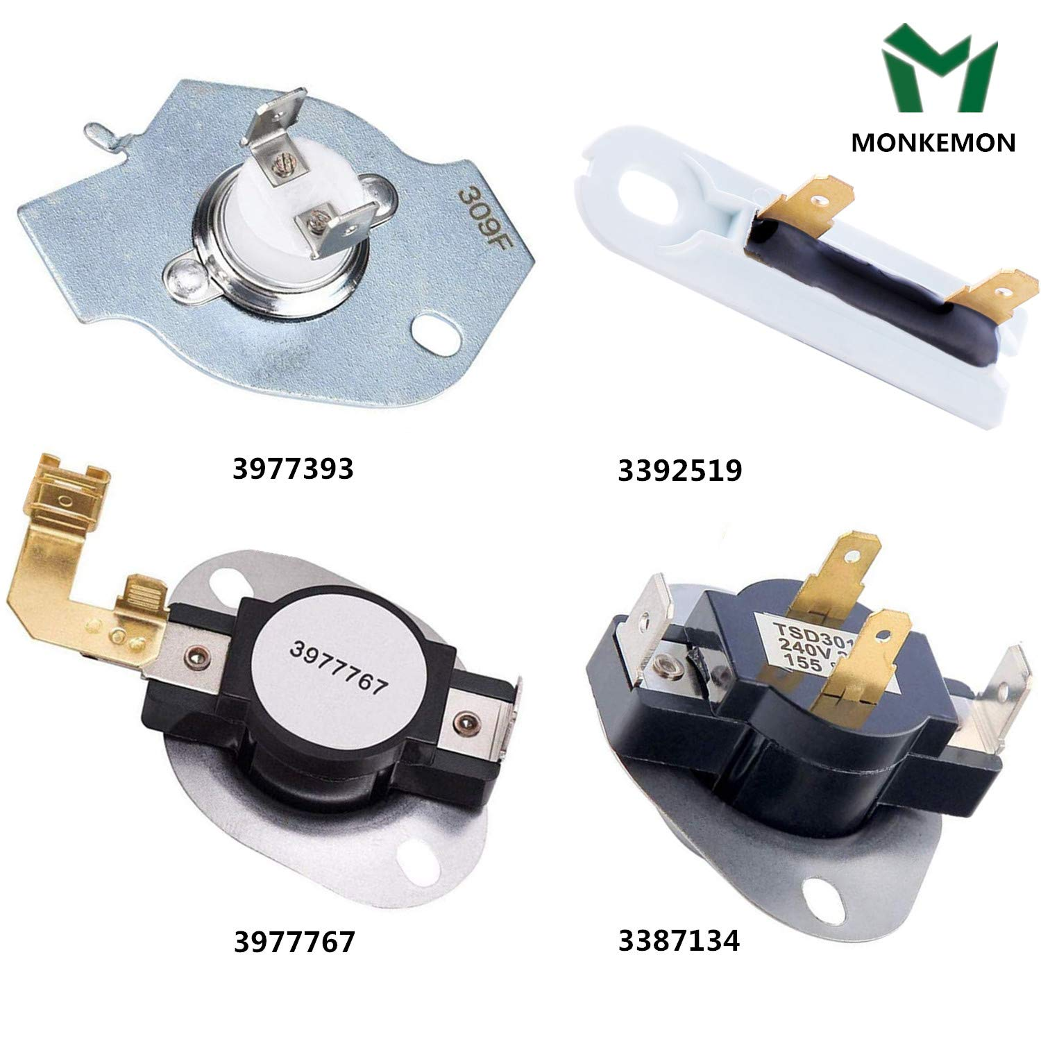 3387134 High-Limit Thermostat 3392519 Dryer Thermal Fuse 3977767 Dryer Thermostat 3977393 Thermal Fuse for Whirlpool Kenmore Maytag KitchenAid Dryer Replaces Parts Replaces Parts 3399693 WP3977767VP