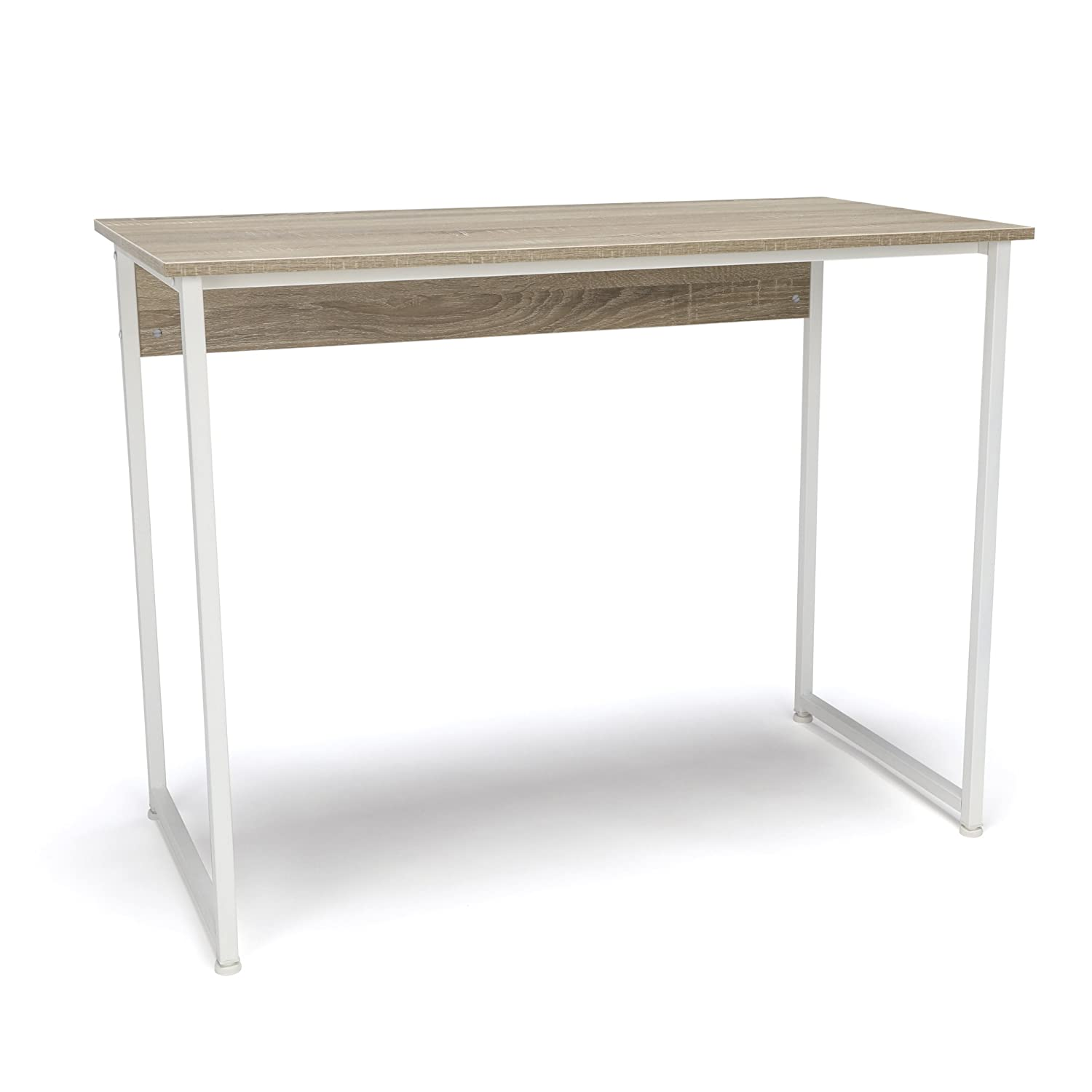 OFM Essentials Collection Office Desk with Metal Legs - Modern Computer Desk and Workstation, White/Natural