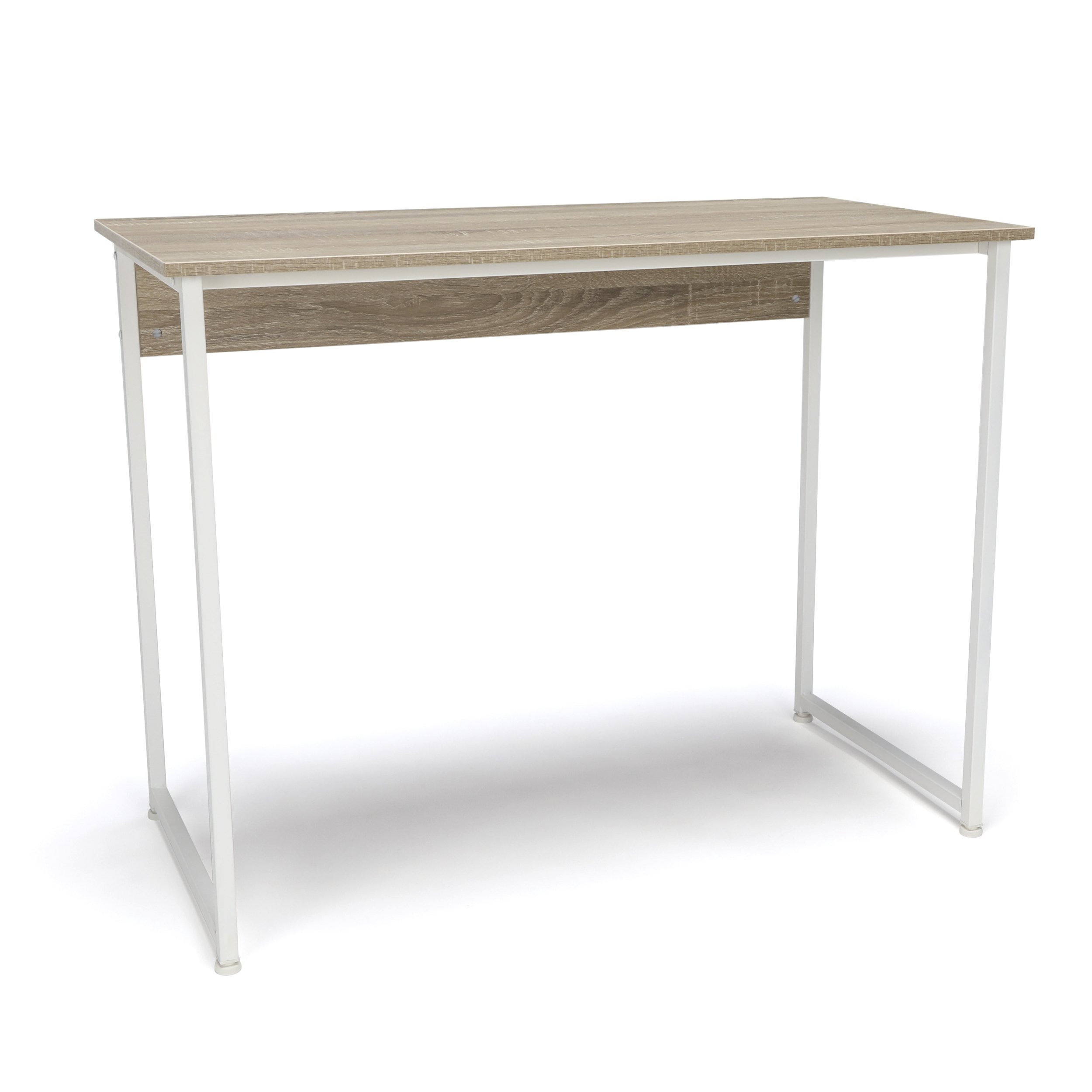 Essentials Office Desk with Metal Legs - Modern Computer Desk and Workstation, White/Natural (ESS-1040-WHT-NAT)