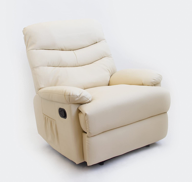 Astan Hogar Sillón Relax con Reclinación Manual, Masaje Y Termoterapia. Modelo Roma AH-AR30200CR, Crema,