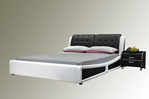 Greatime Platform Bed, Eastern King Two Tone, Black White