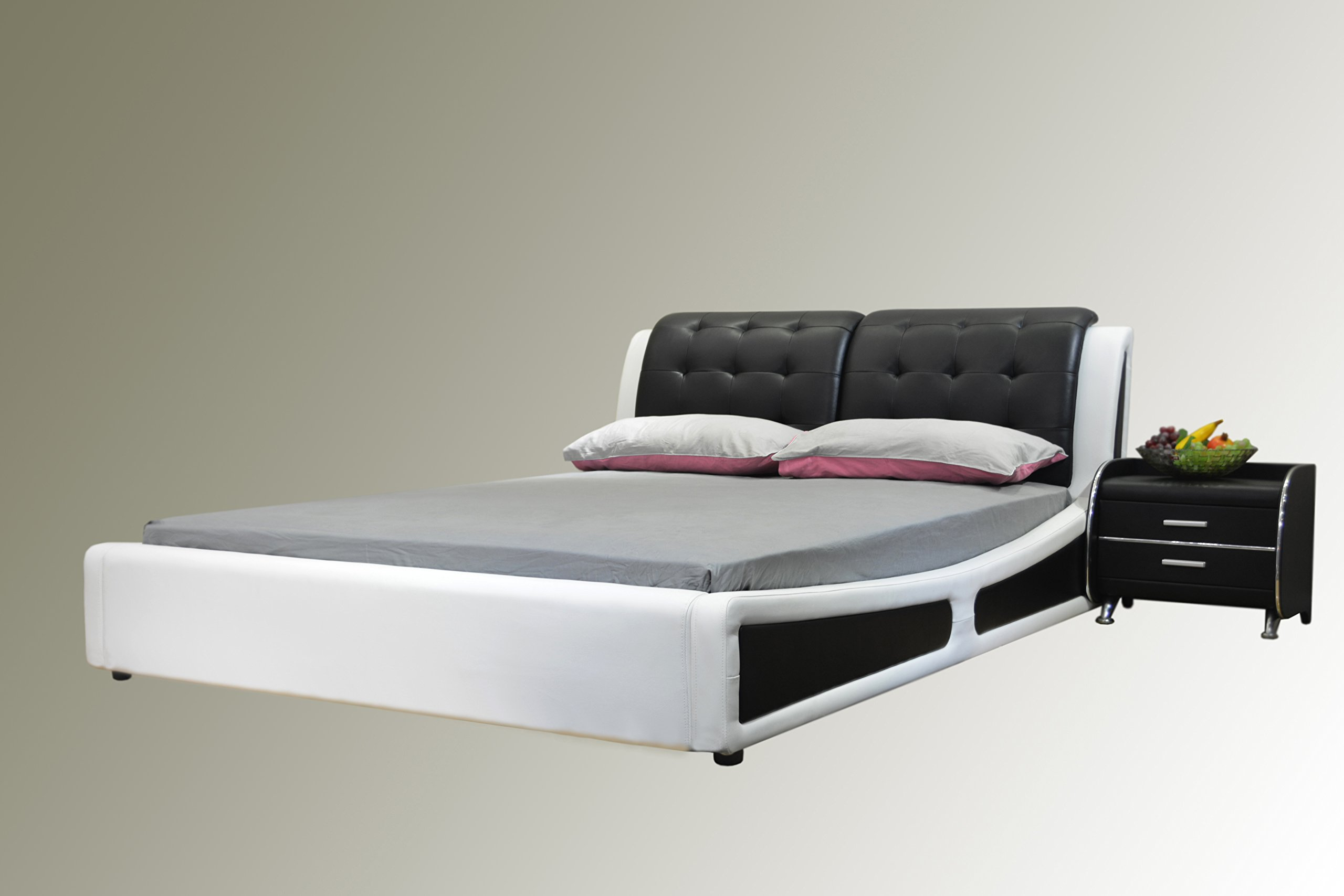 Greatime  Platform Bed, Eastern King Two Tone, Black/White