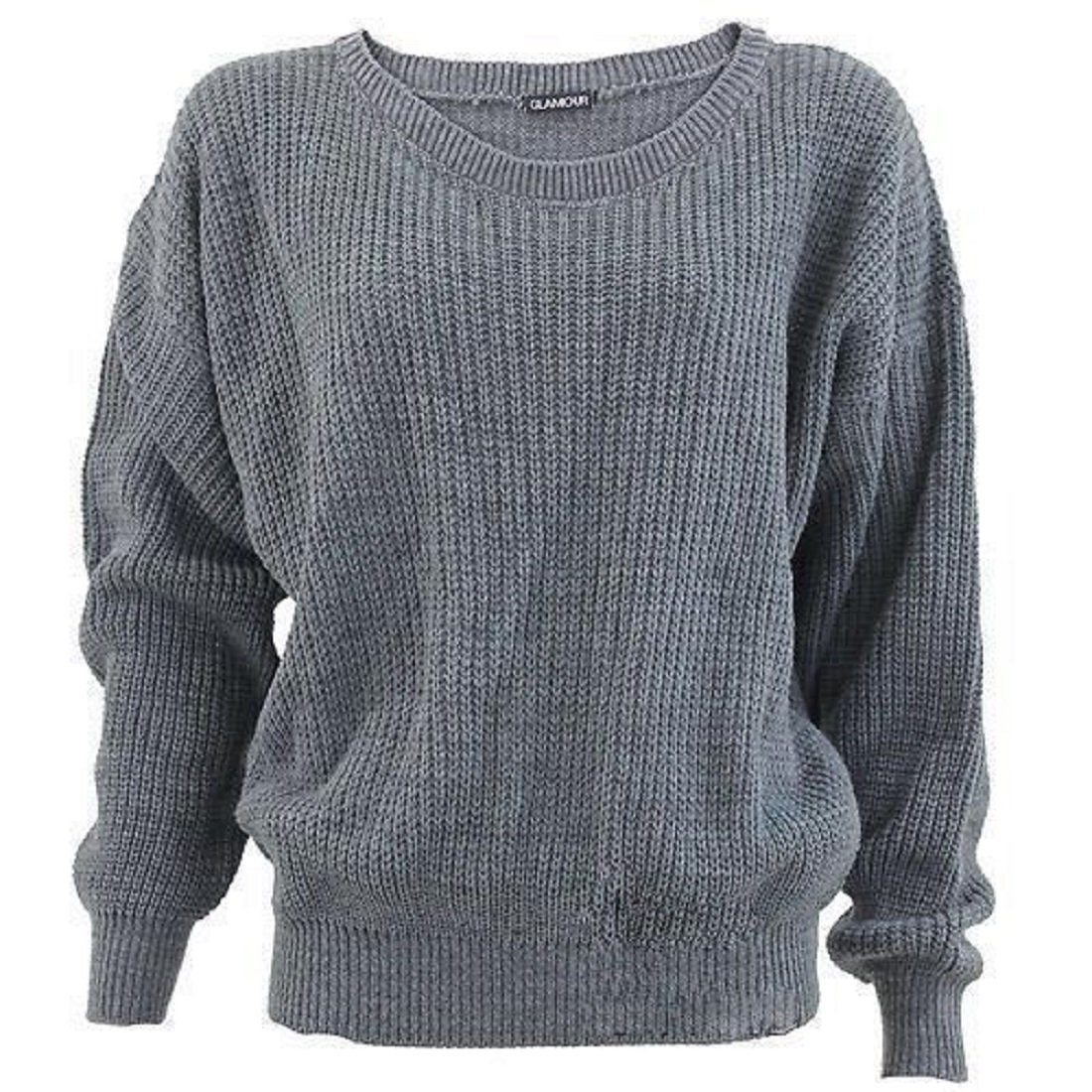 Women's Plus Size Long Sleeves Baggy Style Oversize Sweater Jumper ...