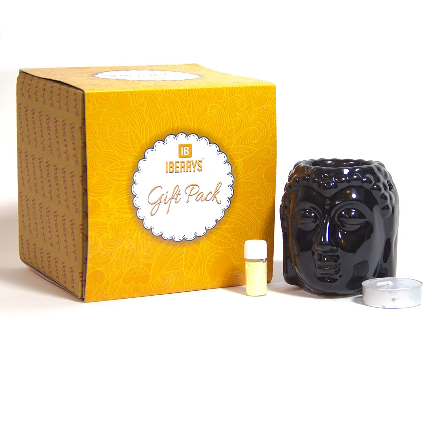 Ceramic Aroma Burner Clay Lamp Buddha Black Color with 4 Tl