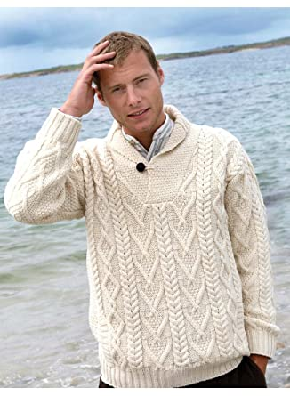 c880e50db 100% Merino Wool Aran Sweater with Fold-Over Collar