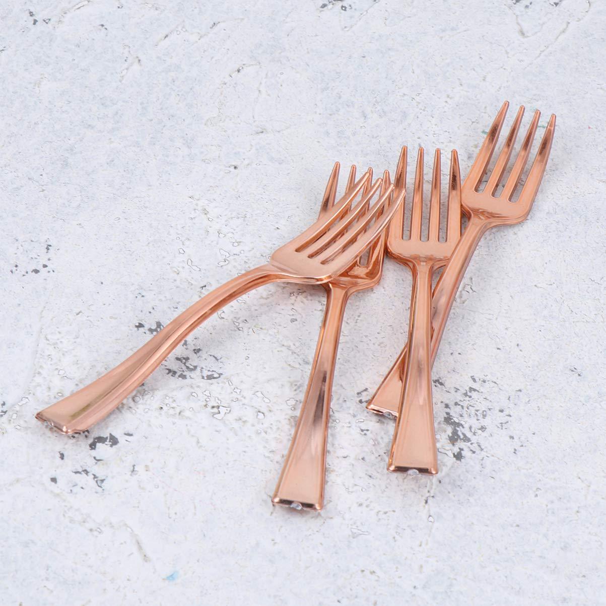 dorado UPKOCH 24 piezas horquillas desechables mini horquillas postre pastel aperitivos tenedores cumplea/ños boda festival fiesta suministros
