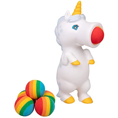Hog Wild White Unicorn Popper Toy - Shoot Foam Balls Up to 20 Feet - 6 Rainbow Balls Included - Age 4+: Toys & Games