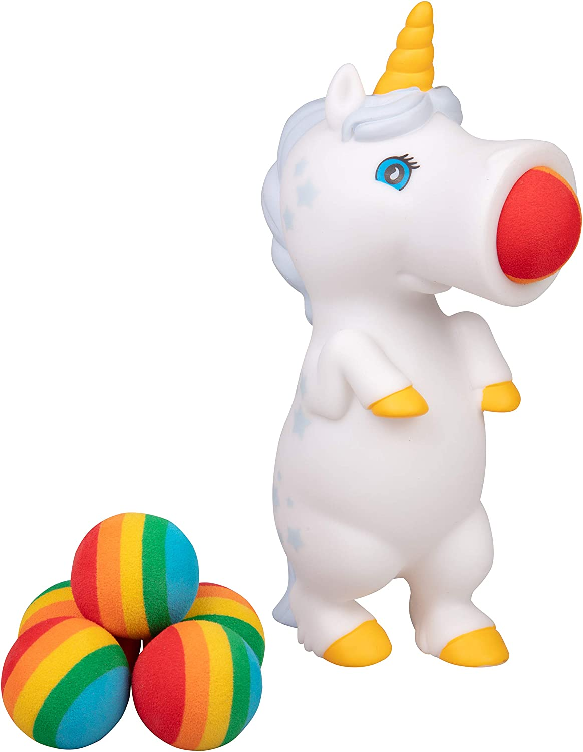 Hog Wild White Unicorn Popper Toy - Shoot Foam Balls Up to 20 Feet - 6 Rainbow Balls Included - Age 4+