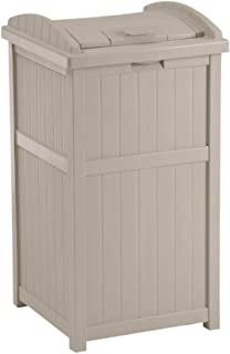 product image for Suncast 30-33 Gallon Deck Patio Resin Garbage Trash Can Hideaway, Taupe (2 Pack)