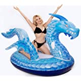 dreambuilderToy Giant Inflatable Dragon Pool Float, Cool ice Dragon raft 9 Feet Long with Faster Valve, Pool Float…