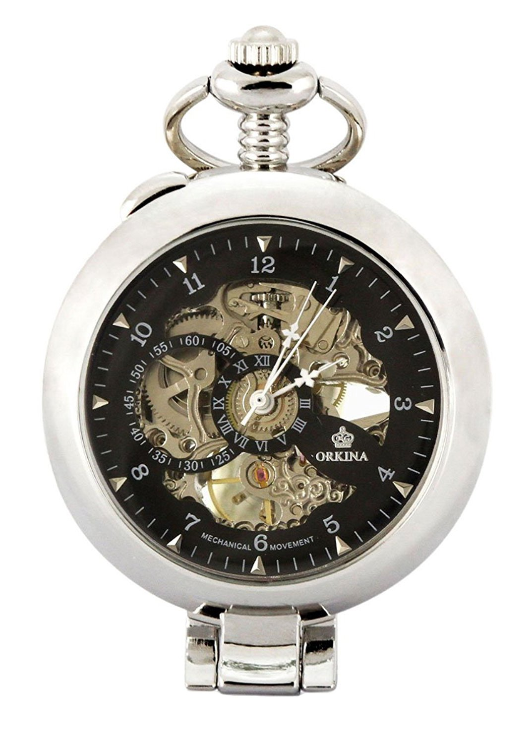 Carrie Hughes Vintage Open face Steampunk Skeleton Mechanical Pocket watch with Chain CH79 by Carrie Hughes