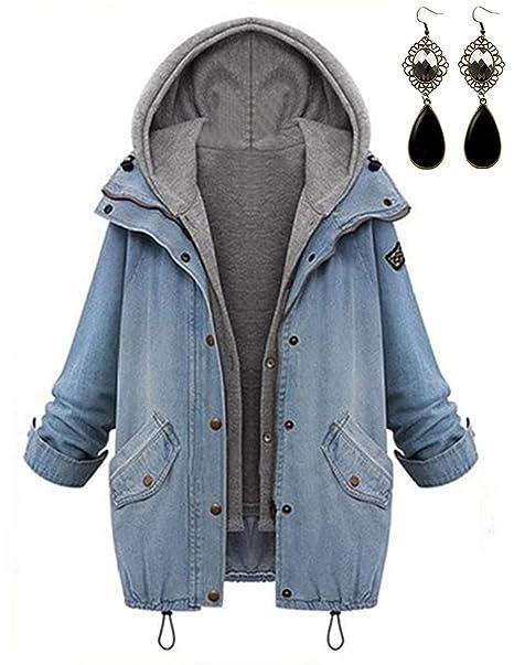 M-Queen Largo Abrigos de Mujer Chaquetas de Denim Chalecos Hoodies Chaqueta de Mezclilla Jacket Manga Larga Tops Primavera: Amazon.es: Ropa y accesorios
