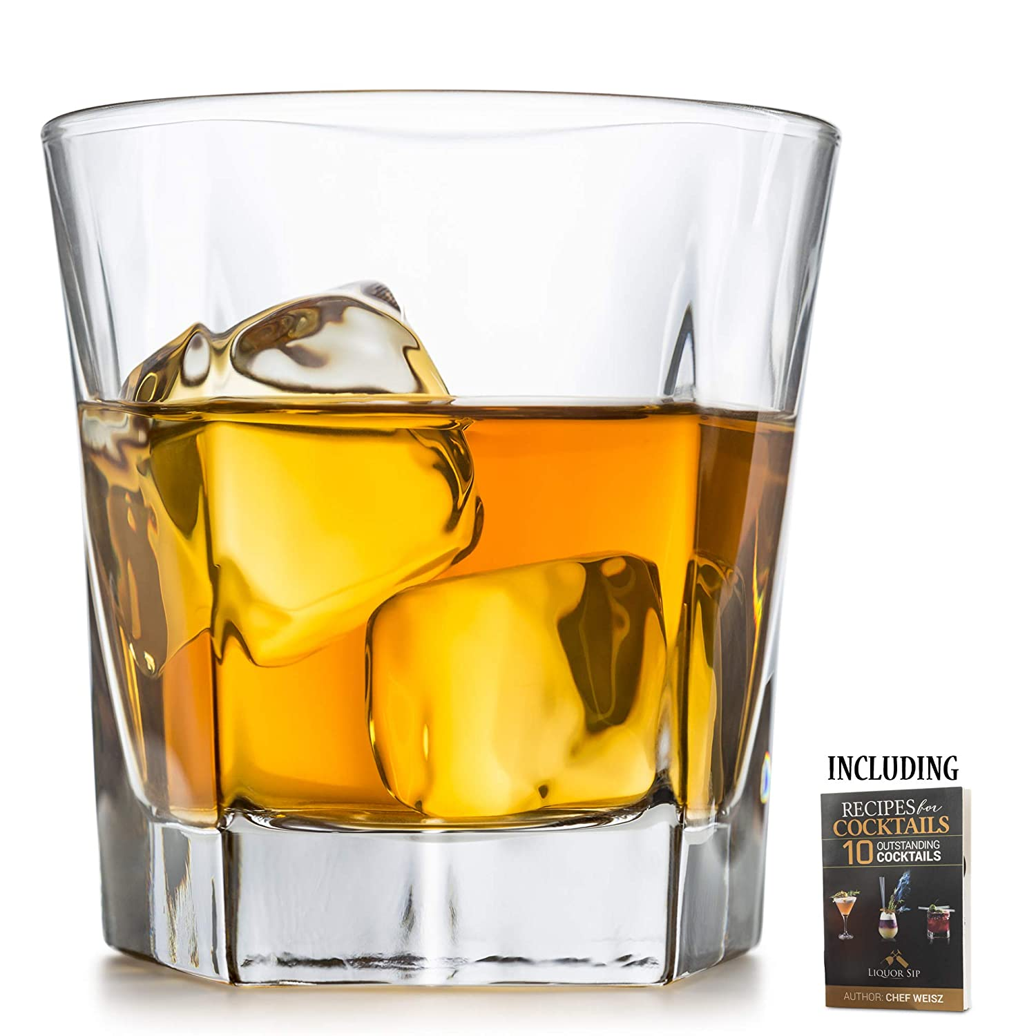 Whiskey Glasses, Set Of 2 – By Liquor Sip. Elegant Design- Large 12 oz Lead-free Tumblers- best glass cups for scotch or bourbon -10 Bonus Refreshing Cocktail Recipes enclosed in a stylish gift box