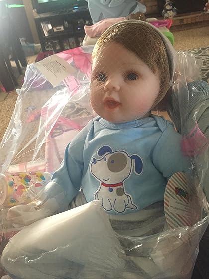 JOYMOR 22 Inch Reborn Baby Doll Birthday Gift Vivid Real Looking Dolls Full Silicone Vinyl Lifelike Realistic Child Growth Partner Washable Soft Body Lovely Simulation Fashion Love this baby boy doll