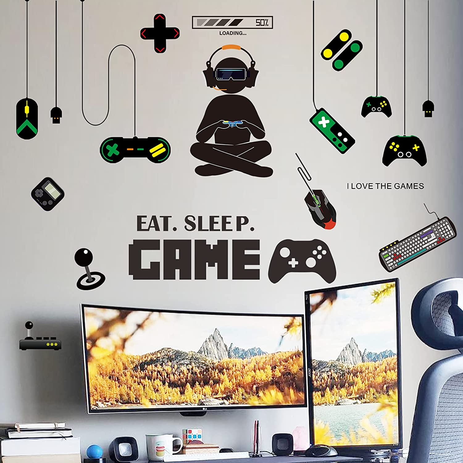 Gamer Room Decor Boys Bedroom Decor Sticker Set for Video Game Room Decoration Wall Decals Eat Sleep Game for Boys Game Room (3 Sheets)