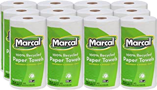 "product image for Marcal U-Size-It Paper Towels, 100% Recycled, 2-Ply, U-Size-It Towels, 210 Sheets Per Roll, 12 Individually Wrapped Rolls, in a""Roll Out"" Case - Green Seal Certified 06210"